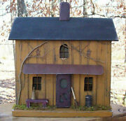 Farmhouse Farmhouse Decor Lighted House Primitive House Rustic Birdhouse