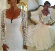 Vintage Wedding Dresses Long Sleeves Bridal Gowns Full Lace Square Neck Custom