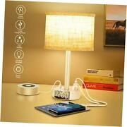 Table Lamp With Alarm Clock, Touch Control Bedside Lamp With 2 Ac Outlets White
