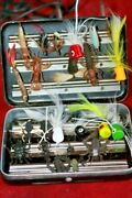 Vintage Perrine Blac Fly Fishing Box With Flies Bugs Poppers Trout Bass Lures
