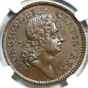 1723 W-13470 Ngc Ms 65 Bn Woodand039s Hibernia Half Penny Colonial Copper Coin