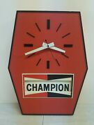 Vintage Champion Spark Plugs Motion Clock Save Fuel Tune Up Gas And Oil Sign