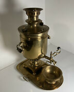 Antique Brass Samovar Hot Tea Kettle 20 1/2 Tall -dated 1883 -stamps And Seals