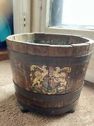 Vintage English Wood Bucket With Royal Coat Of Arms Cooper Bands