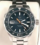 Tag Heuer Aquaracer Mens Diver Watch Waj1112 In Exc. Cond. 500mm Rare Blue Dial.