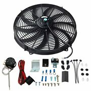 16radiator 12v Fan Slim Push Pull Cooling Fan Kit+thermostat Control Relay Wire