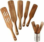 Wood Kitchen Utensils Tools Non-stick 6 Pack Wooden Spatula For Cooking