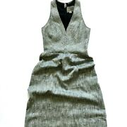 Nwot Giambattista Vali Fit And Flare Tweed Dress Womenand039s 42 Small V-neck Lined New