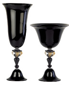 Vase Glasses Bowl And Dish Murano Glass Black Authentic Made In Italy