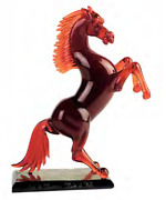 Genuine Murano Glass Sculpture Horse With Base Made By Hand In Italy