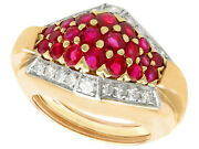 Vintage 1.38 Ct Ruby And Diamond Ring In 14carat Yellow Gold Size J