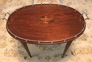 Goodnow And Jenks Inlaid Wood Tray With Sterling Gallery Console On Stand