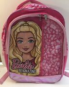 Barbie Be Amazing Pink Backpack With Blonde Barb Carry Handle Mesh Pockets F1