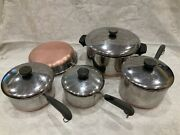 9 Pc Revere Ware 1801 Copper Clad Bottom 6 Qt Stock 2 3 1.5 Pot Pans Lid Skillet