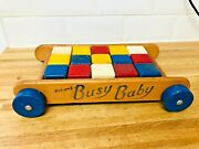 Vintage Triang Busy Baby Walker Toy Wooden Blocks Old Toy Display Prop