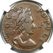 1760 N-12 R-3 Ngc Xf 45 Voce Populi Half Penny Colonial Copper Coin 1/2p