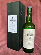 Laphroiag 30 Year Old Whisky Bottle And Box Set - Old Style Green Wood Box And Label