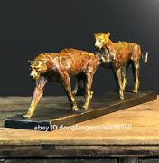 Copper Bronze Modern Home Decoration Quick Two Leopard Panther Animal Sculpture