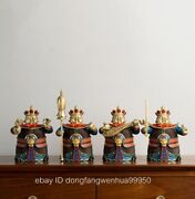 China Copper Handpainted Guardian God Four Heavenly Kings Soldier Buddha Statue