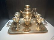 Bernard Rice's Sons Silver Plate Cocktail Shaker Set Apolo Epns Made In Usa