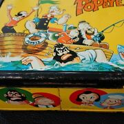 Popeye Lunch Box Tin Metal Antique 1960s Vintage With Water Bottle From Japan