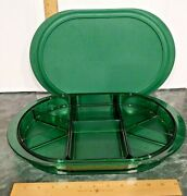 Tupperware Relish Tray Divided Oval Sectioned Tray Emerald Green Preludio Lid