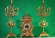 S.marti Antique French 8 Day 2 Train Rococo Mantle Clock Set With Candleabras