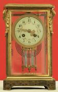 And Co French Cloisonne 8 Day Crystal Regulator 4 Glass Mantle Clock