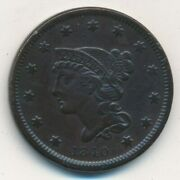 1840 Braided Hair Large Cent-small Date-beautiful Lightly Circulated-ships Free
