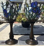 Price Drop 2 Partylite Iris Lamp Candle Holder Stained Glass For Votives Tea