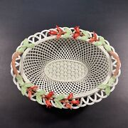 Vin Belleek Irish Porcelain Woven Oval Basket With Red Flowers Leaves And Handles