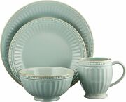 Lenox French Perle Groove 16-pc Dinnerware Set Ice Blue Color New