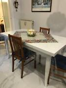 Table Structure In Solid Wood White With 2 Extending Of Various Sizes