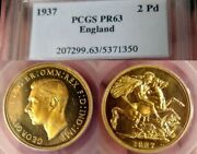 Pcgs Old Holder 1937 Gold 2 Pounds Great Britain Proof 63 Beautiful Under Graded