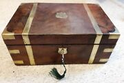 Walnut Writing Slope With Working Lock And Key And Secret Drawers Plus Inkwells