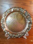 """Vintage Gregorian Hand Hammered Solid Copper Flora Wall Hangable Plate Tray 9.5"""""""