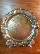 Vintage Gregorian Hand Hammered Solid Copper Flora Wall Hangable Plate Tray 9.5andrdquo