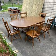 Ethan Allen Antique Heirloom Dining Set 6 Chairs 1 Table With 2 Leaf Extensions