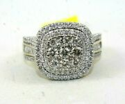 Natural Round Diamond Cluster Square Wide Ladyand039s Ring 14k Yellow Gold 2.18ct