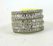 Natural Emerald And Round Diamond Cluster Wide Ring Band 14k White Gold 1.80ct