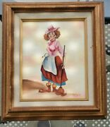 Oil Painting Framed Original On Canvas Clown Signed By Artist Palencia.