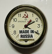 Vintage Russian Soviet Submarine Wall Clock With Wall Mount With Key Works