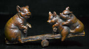 7.2old China Boxwood Wood Carved Feng Shui Animal Pig Wealth Teeterboard Statue