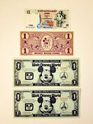 Disney Dollars 1930s Cone, 1971 And 1972 1 Coupons, 1997 Italy Duck 1 Dollar