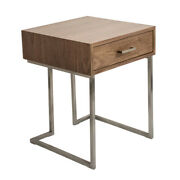 Lumisource Tbe-rmn Wl+ss Roman End Table In Walnut Wood And Stainless Steel