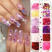 12 Grids/box Love Heart Butterfly Nail Sequins Mixed Color Glitter 3d Nail Art