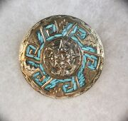 925 Sterling Silver And Turquoise Taxco Mexico Brooch 19g Crown And 38 Eagle Marks