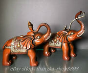 11 Old China Dynasty Red Copper Gilt Auspicious Feng Shui Elephant Statue Pair