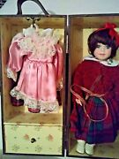 12 Beautiful Porcelain Doll And 3 Dresses 2 Pr Shoes And Wooden Carrying Trunk