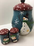 Set Snowman Cookie Jar Air-tight Lid Salt Pepper Shakers Blue And Red Polka Dot
